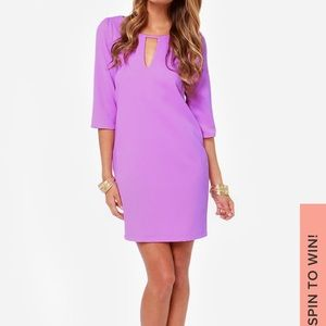 "Lulus ""cutout of control"" purple shift dress"